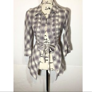 Odille Plaid Button Down Tie Front Ruffle Blouse